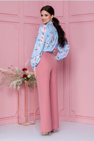 Pantaloni LaDonna roz prafuit evazati cu nasturi decorativi