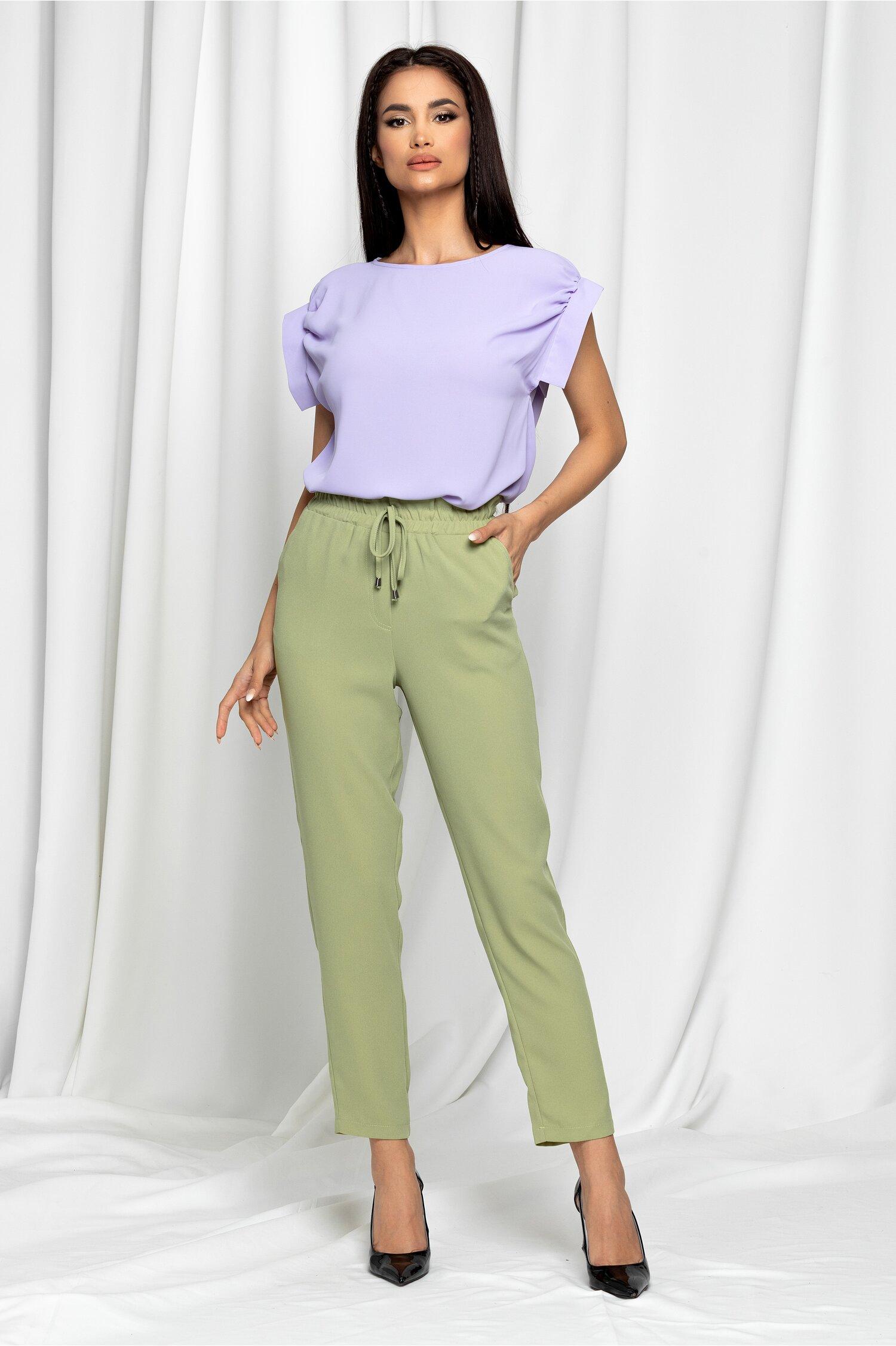 Pantaloni LaDonna verde olive cu talie inalta si croi lejer