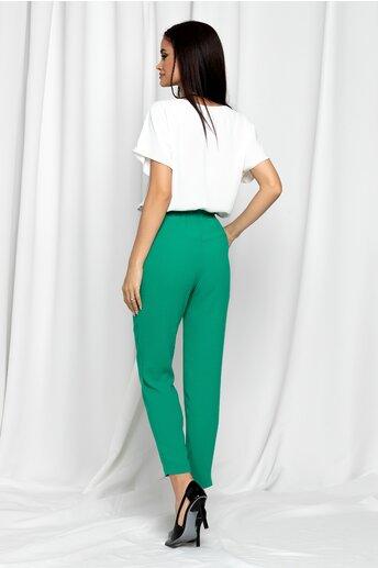 Pantaloni LaDonna verzi cu talie inalta si croi lejer