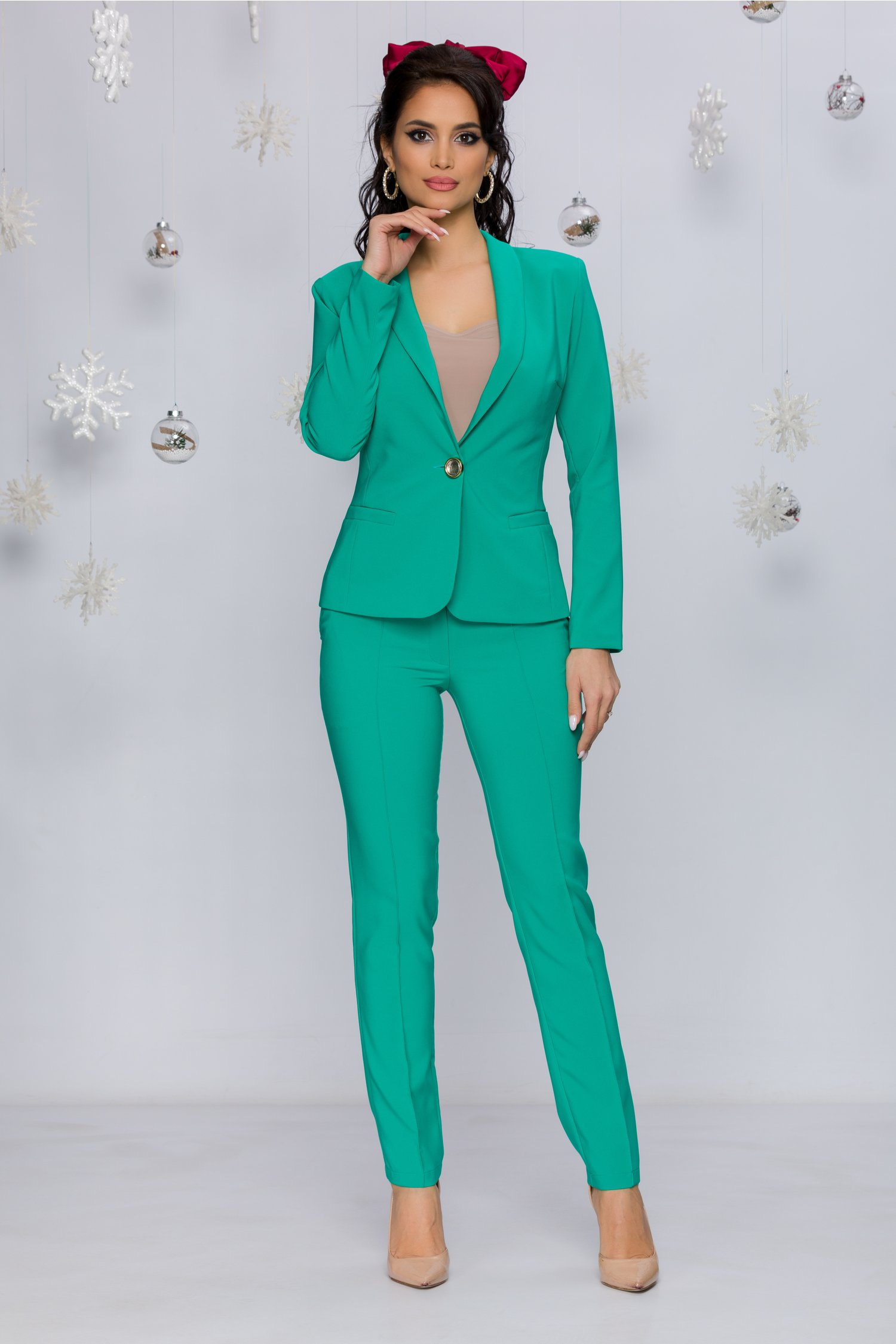 Pantaloni Ladonna Verzi Office Cu Design Cu Dungi