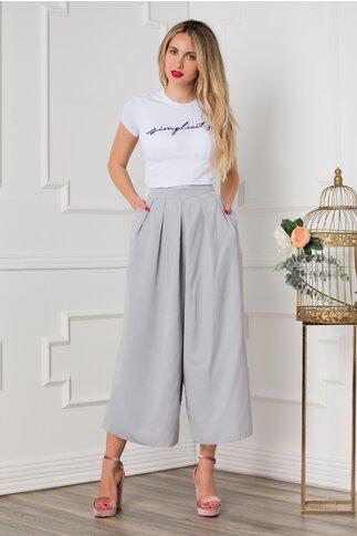 Pantaloni Lany gri trei sferturi lejeri