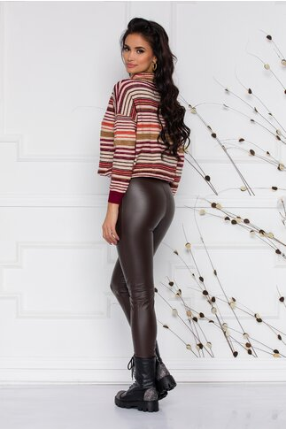 Pantaloni Leggy maro din piele ecologica