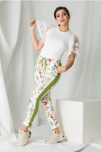 Pantaloni Leonard Collection albi cu imprimeuri florale