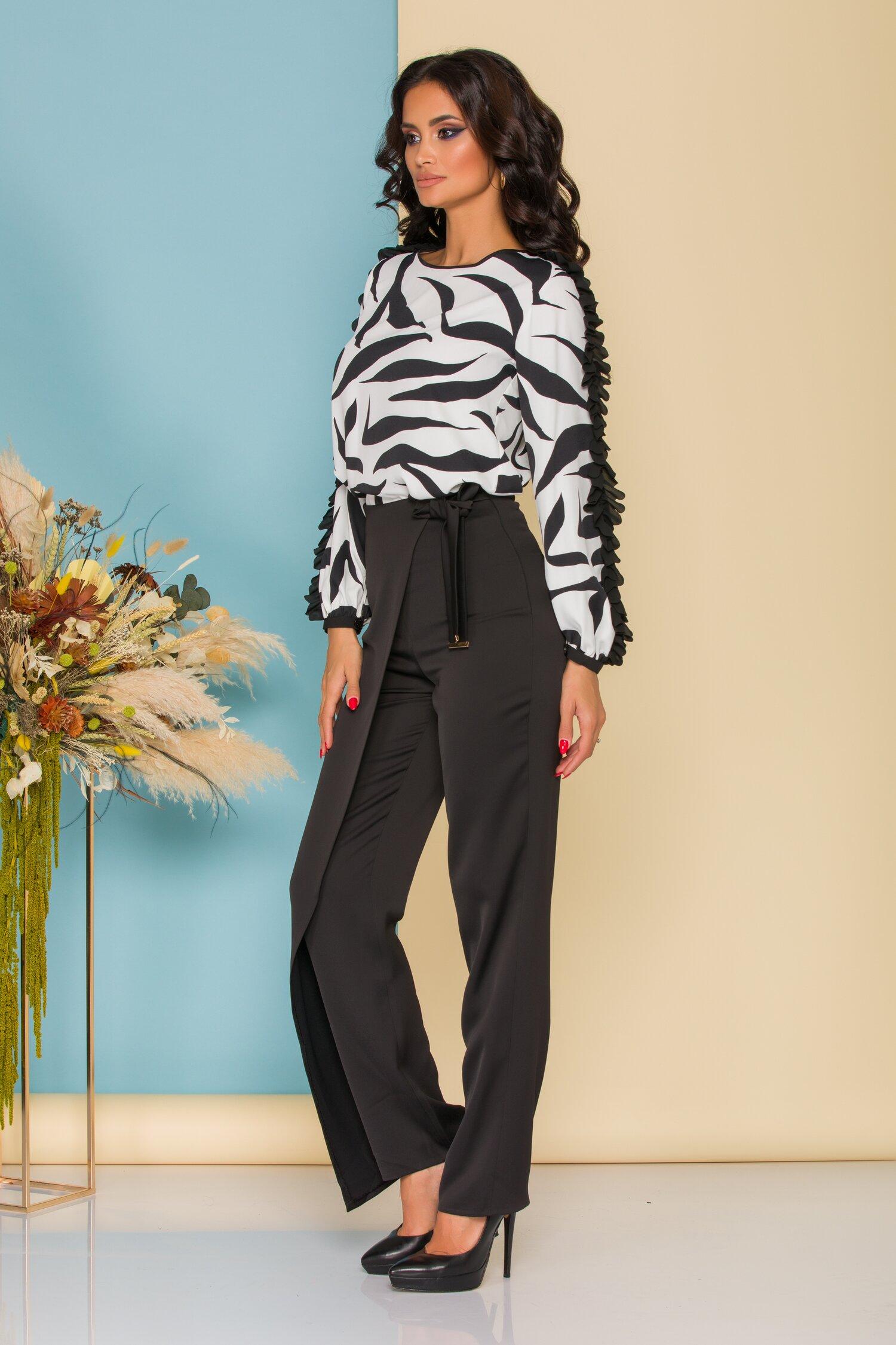 Pantaloni Leonard Collection negri cu design special