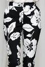 Pantaloni Leonard Collection negri cu imprimeu floral alb