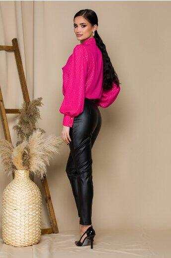 Pantaloni Lidia negri din piele ecologica