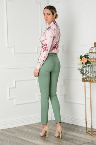 Pantaloni Luna verzi cu dunga si curea in talie