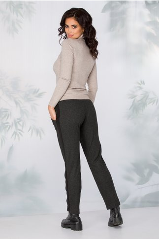 Pantaloni Lydia gri antracit model zigzag