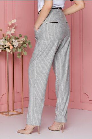 Pantaloni Maria lejeri gri cu dungi