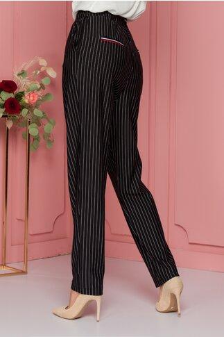 Pantaloni Maria lejeri negri cu dungi