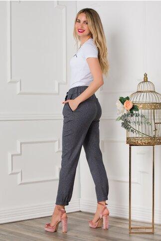 Pantaloni Mary gri in carouri cu snur in talie