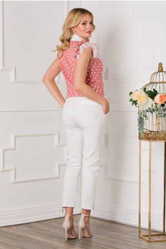 Pantaloni MBG albi cu fermoar la baza
