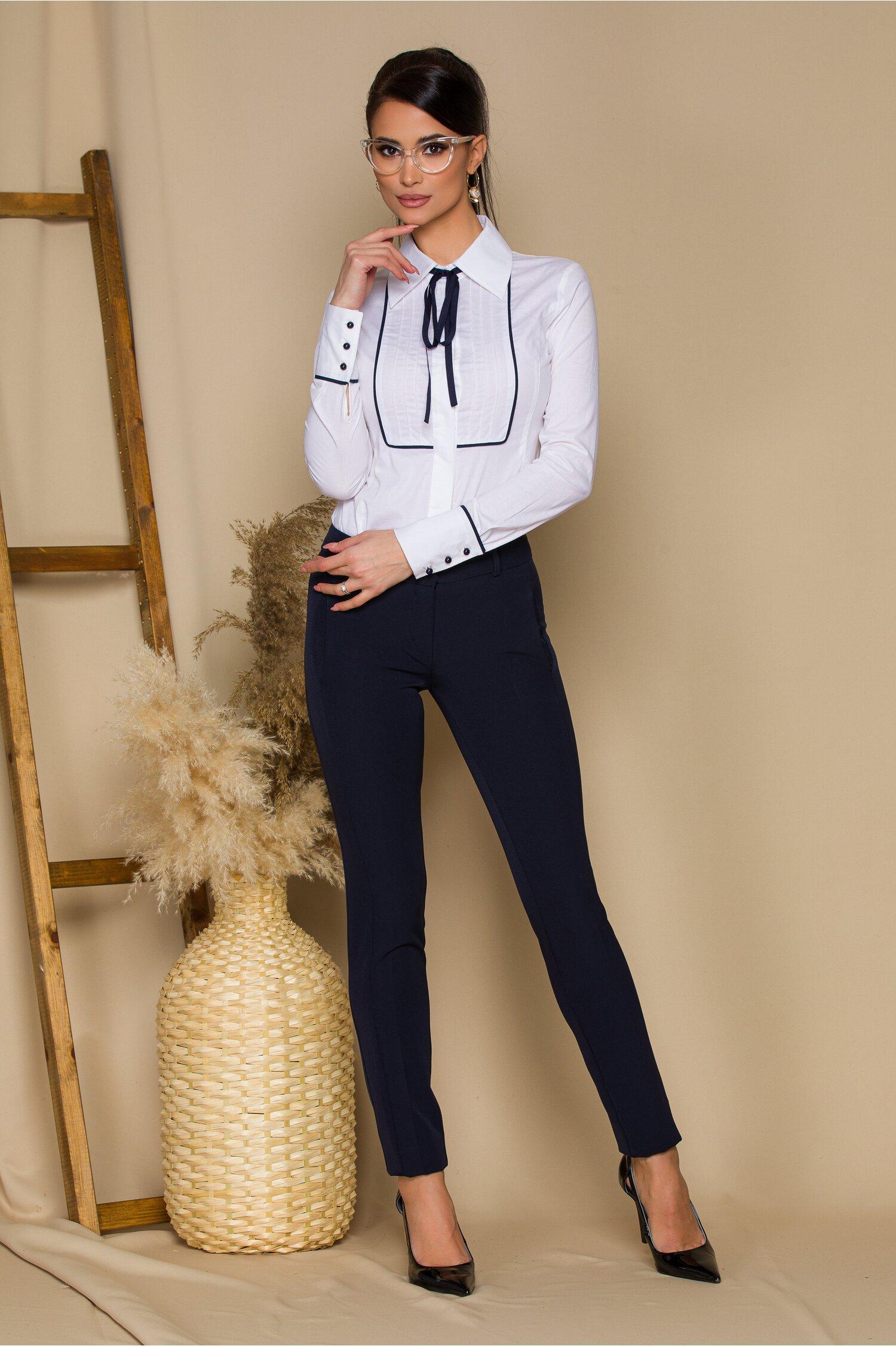 Pantaloni MBG bleumarin office cu buzunare