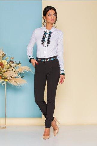 Pantaloni MBG negri cu accesoriu in talie