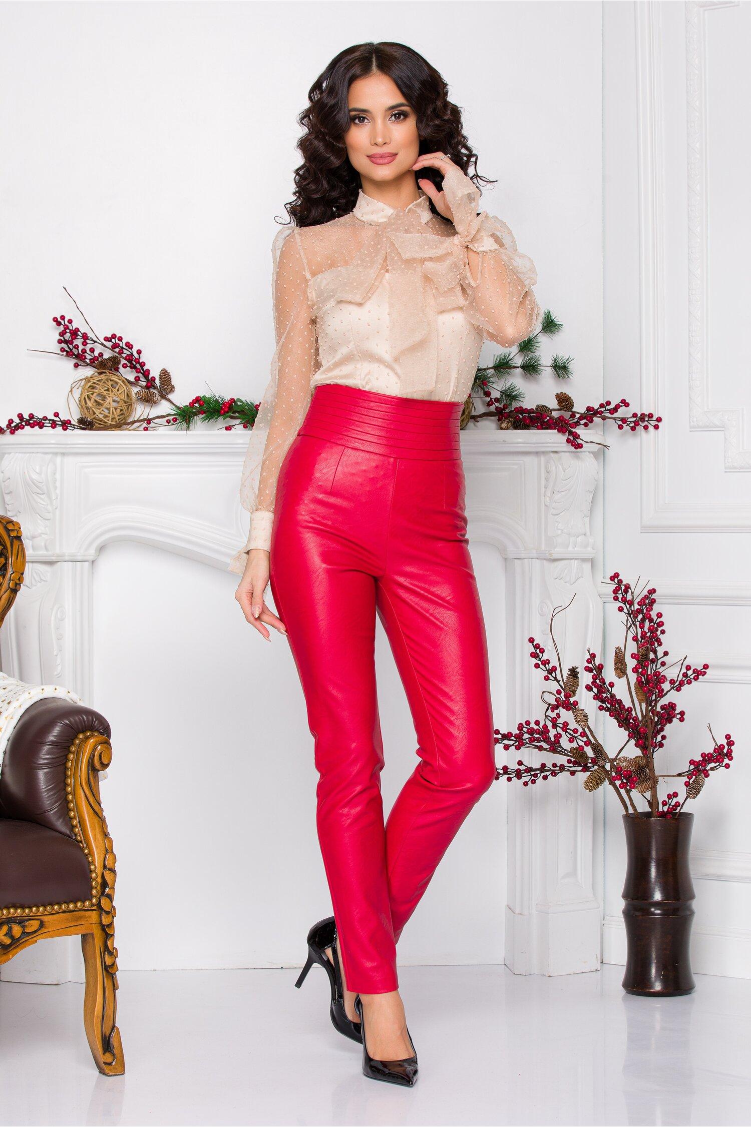 Pantaloni MBG rosii din piele ecologica cu talie inalta