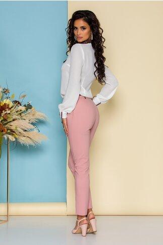 Pantaloni MBG roz cu accesoriu in talie