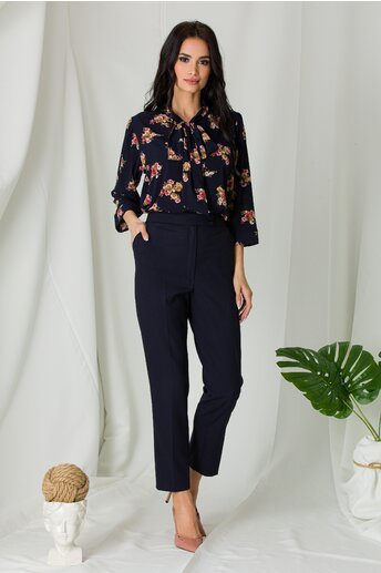 Pantaloni Mella office bleumarin