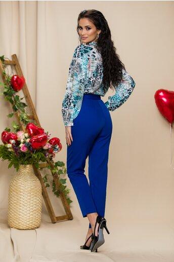 Pantaloni Mira albastri cu pliuri in talie