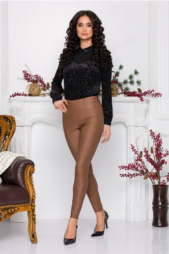 Pantaloni Mira maro camel din piele ecologica