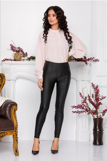 Pantaloni Mira negri din piele ecologica