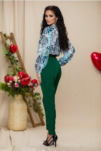 Pantaloni Mira verzi cu pliuri in talie