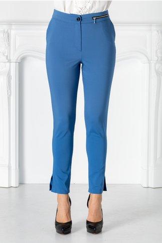 Pantaloni Moze albastri cu fermoar metalic