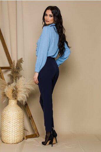 Pantaloni Moze bleumarin cu aplicatii pe talie