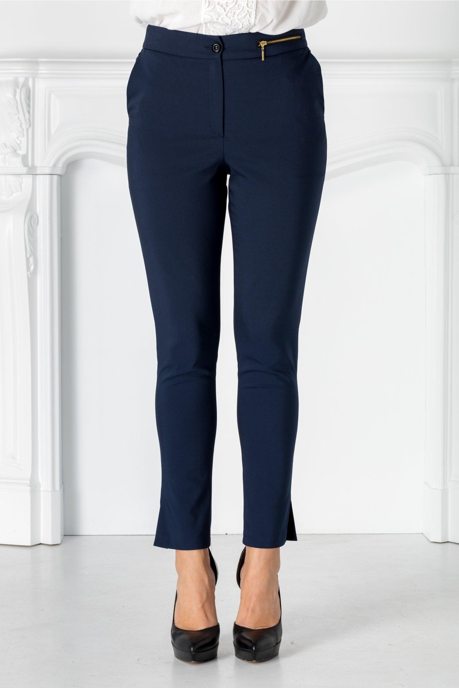 Pantaloni Moze bleumarin cu fermoar metalizat