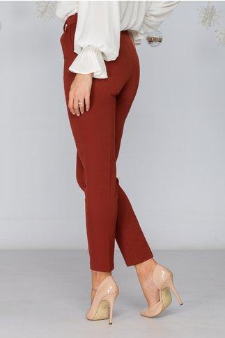 Pantaloni Moze caramizii conici cu pliuri eleganti