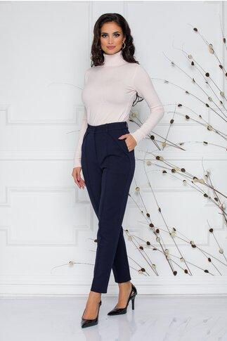Pantaloni Moze office bleumarin cu design cu pliuri
