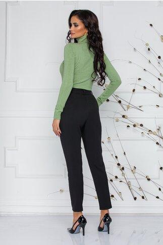 Pantaloni Moze office negri cu design cu pliuri