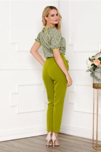 Pantaloni Moze verde olive cu snur decorativ in talie