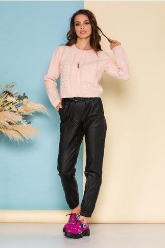 Pantaloni negri cu aspect de piele ecologica cu cordon in talie
