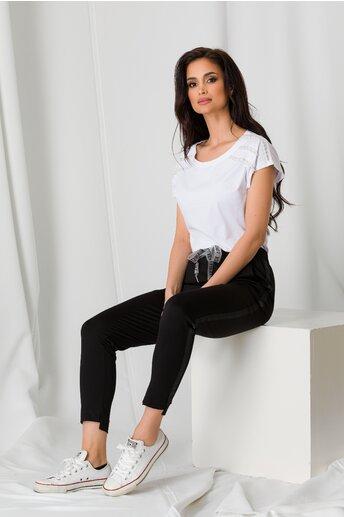 Pantaloni negri cu elastic in talie si lampas