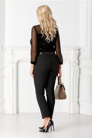Pantaloni negri dama cu dunga