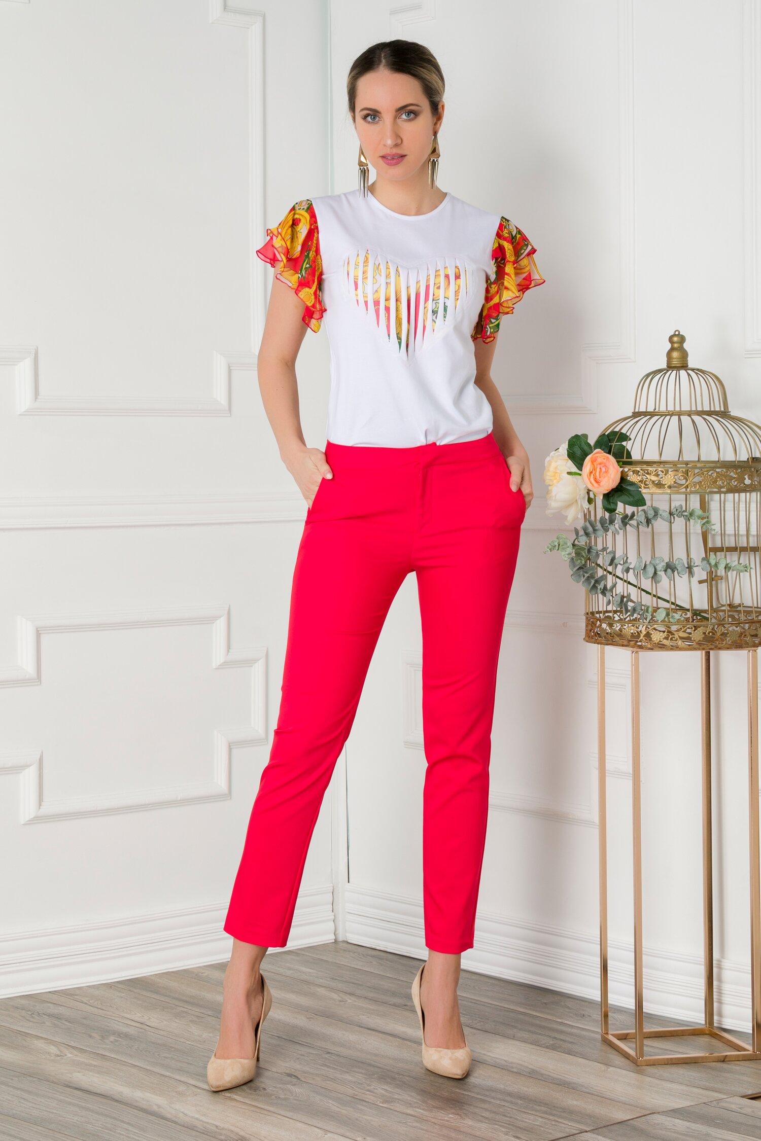 Pantaloni Netalia rosii office imagine