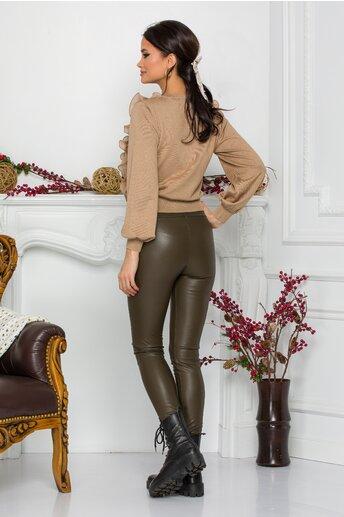 Pantaloni Oana kaki din piele ecologica