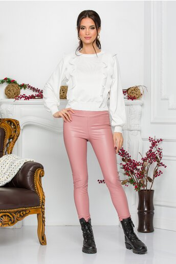 Pantaloni Oana roz din piele ecologica