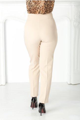 Pantaloni office bej cu nasture auriu