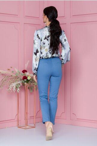Pantaloni office bleu cu dunga si curea in talie