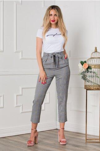 Pantaloni office gri cu carouri albastre