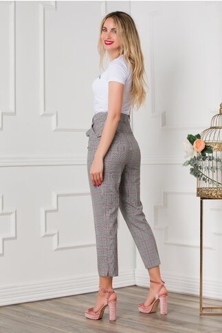 Pantaloni office gri cu carouri caramizii