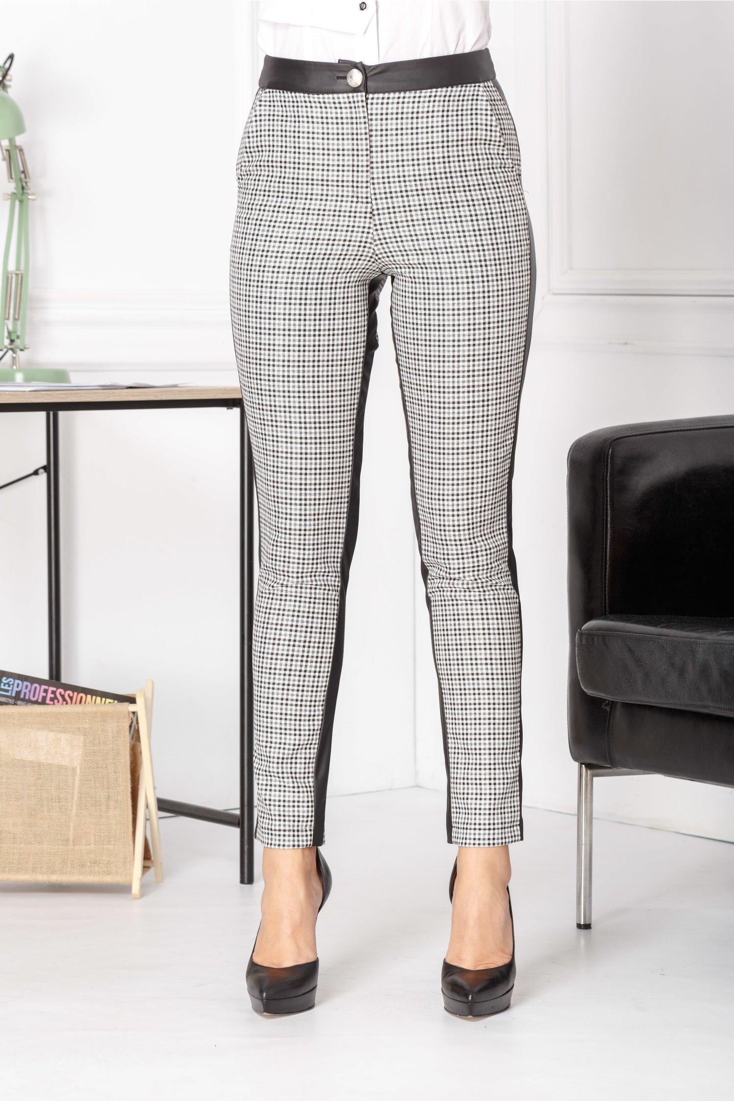 Pantaloni Pitty cu carouri si insertie din piele ecologica