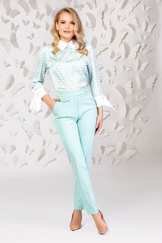 Pantaloni Pretty dama verde mint cu talie inalta