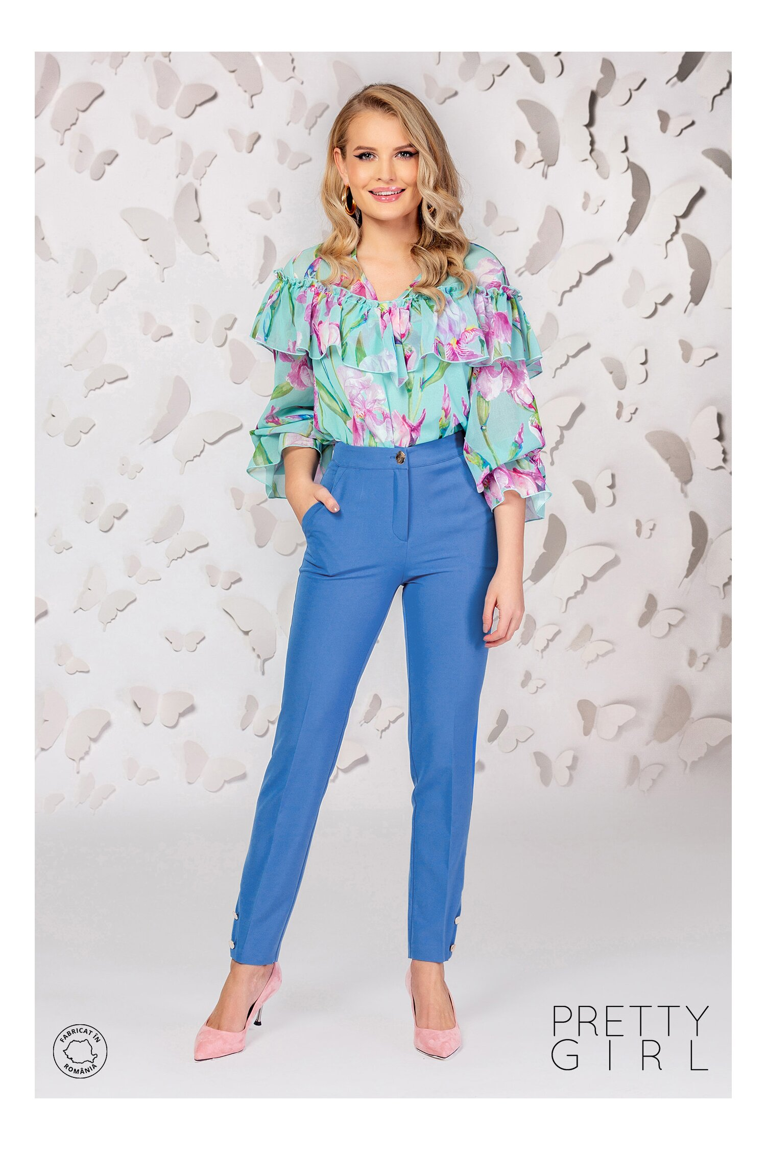 Pantaloni Pretty Girl albasti cu dunga si nasturi la baza