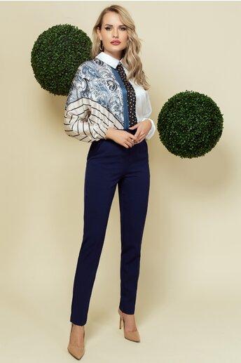 Pantaloni Pretty Girl bleumarin cu volanas delicat in talie
