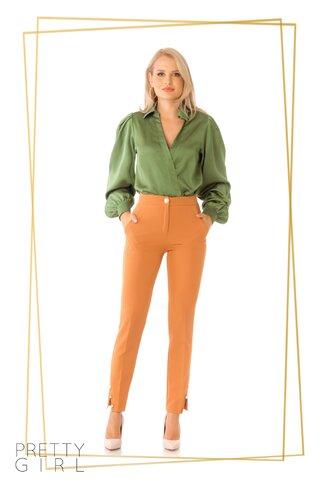 Pantaloni Pretty Girl camel cu nasturi tip perla
