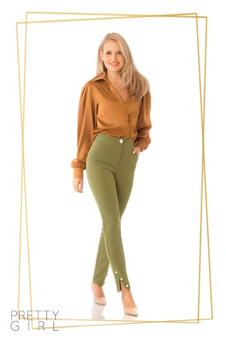 Pantaloni Pretty Girl kaki cu nasturi tip perla
