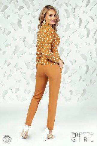 Pantaloni Pretty Girl maro cu dunga si nasturi perlati