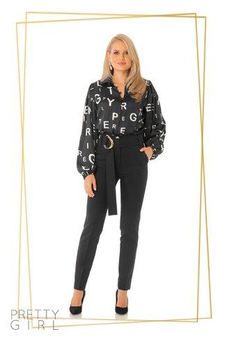 Pantaloni Pretty Girl negri cu centura stilizata